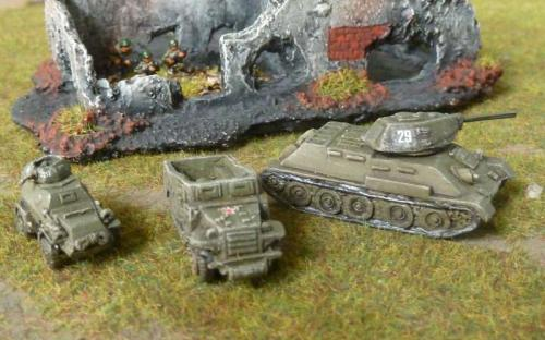 T34/76, White Scout Car, Armoured car and Pendraken building in the background