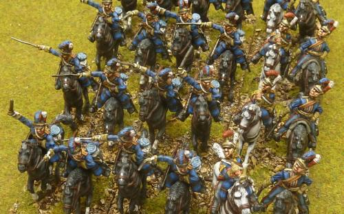 "28mm Napoleonic British Household cavalry (The ""Blues"") Elite miniatures."