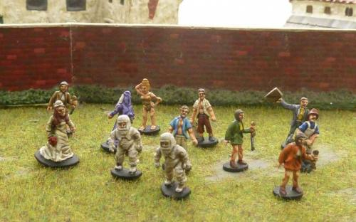 15mm Bio suits and civilians with improvised weapons