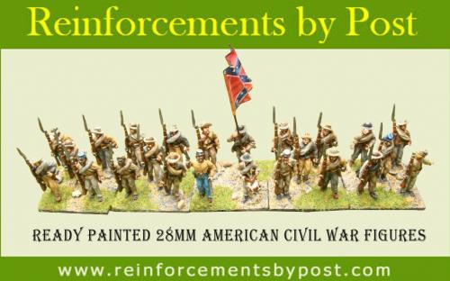 Ready painted 28mm Confederate infantry