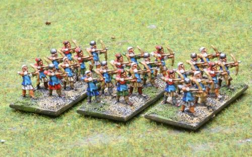 10mm Medieval Peasants with bows (TB line miniatures - now Pendraken)