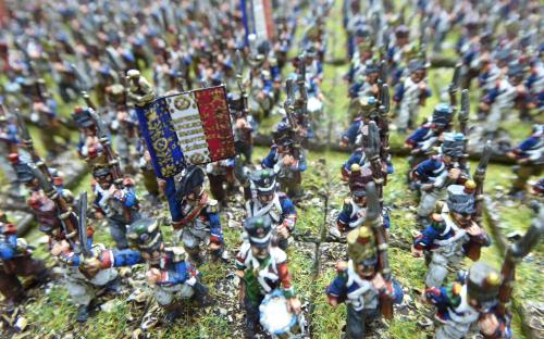 15mm Napoleonic French line infantry. Blue Moon miniatures.