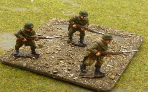 Russian rifle men with fixed bayonets